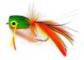 Orange and Green Frog Popper Bass Bug