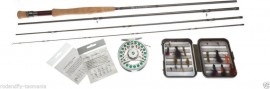 FLY FISHING STARTER OUTFIT rod,reel, line, backing, leader, Box with 25 Flies