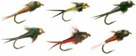 18 Copper John Fly Collection - 18 Flies +Slit Foam Fly Box