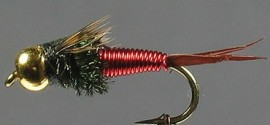 Gold Bead Hot  Red Copper John Nymph