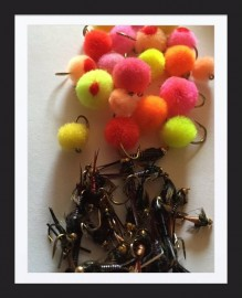 Snowy Mountains spawn run collection 40 of the best Glo bugs and nymphs